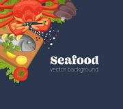 Realistic sea food top view background vector. Realistic sea food top view background. Fish restaurant seafood dishes food cooked from fish meat on a cutting vector illustration