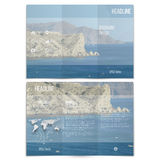 Realistic sea landscape. Brochure, tri-fold flyer Royalty Free Stock Photos