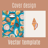 Realistic sea shell pattern cover design Stock Photography
