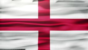 Realistic Seamless Loop Flag of England Waving In The Wind With Highly Detailed Fabric Texture. You can use  backgrounds  for vfx, blog, vlogs, presentations stock video footage