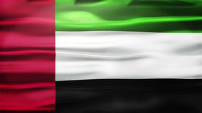 Realistic Seamless Loop Flag of United Arab Emirates Waving In The Wind With Highly Detailed Fabric Texture. stock footage
