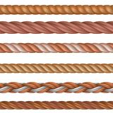 Realistic seamless rope and nautical cables vector set isolated on white background vector illustration