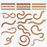 Realistic seamless rope and nautical cables vector set stock illustration