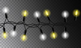 Realistic seamless white and yellow christmas light chain. On transparent background stock illustration