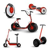 Realistic self-balancing gyro two-wheeled board scooter or hoverboard 3 colorful sets transparent background vector. Illustration. Unicycle. Scooter. Electric Royalty Free Stock Images