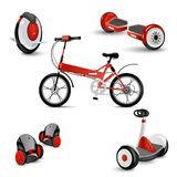 Realistic self-balancing gyro two-wheeled board scooter or hoverboard 3 colorful sets transparent background vector. Illustration. Unicycle. Scooter. Electric Royalty Free Stock Image