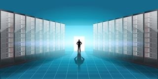 Vector Realistic Server room illustration, man silhouette in the door with light and shadow effect. Realistic Server room illustration, man silhouette in the Stock Image