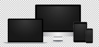 Realistic set of black display, laptop, tablet and phone with empty screen on transparent background. Realistic set of electronic devices, black display, laptop Royalty Free Stock Image