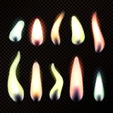 Candle Flames Realistic Set. Realistic set of colorful burning candle bright flames isolated on dark transparent background vector illustration Royalty Free Stock Photography
