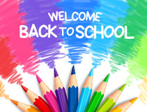 Realistic Set of Colorful Colored Pencils or Crayons. With Multicolored Brush Strokes Background in Back to School Title. Vector Illustration Stock Image