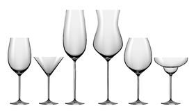 Realistic set of glasses for alcohol drinks. Isolated Royalty Free Stock Photography