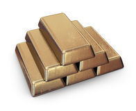 Realistic set of gold bars. 3D Icon  Royalty Free Stock Photo