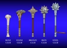 Realistic set of historical fighting Clubs: bone, stone, bronze, iron, steel. vector illustration