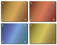 Realistic set of metal plates. Set realistic metal plate isolated on white background Royalty Free Stock Photo