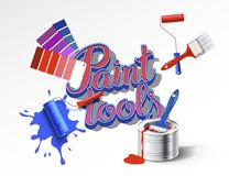 Realistic set of paint tools Royalty Free Stock Photos
