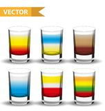 Realistic set shots cocktails. 3d Shot with drinks for bars, restaurans collection. Glass cup liqueur. Isolated on white Stock Images