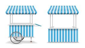 Realistic set of street food kiosk and cart with wheels. Mobile blue market stall template. Farmer kiosk shop mockup. Vector illustration EPS 10 stock illustration