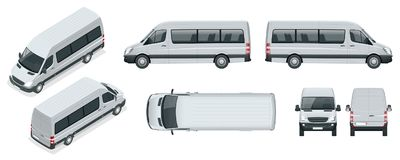 Realistic set of Van template Isolated passenger minibus for corporate identity and advertising. View from side, top. Roof, rear, front, isometric. Vector Stock Image