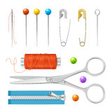 Realistic Sewing Tools Accessories Set. Vector Royalty Free Stock Image