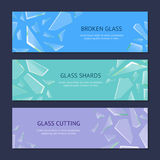 Realistic Shards of Broken Glass Banner Horizontal Set. Vector vector illustration