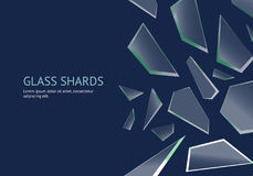 Realistic Shards of Broken Glass Concept Banner Card. Vector vector illustration