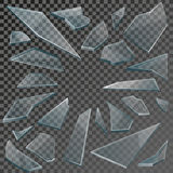 Realistic shards of broken glass with transparency. Realistic transparent shards of broken glass on checkered backdrop. Vector illustration Stock Photos