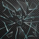 Realistic Shards Of Transparent Broken Glass Stock Images