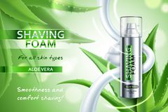 Realistic Shaving Foam Advertising Composition. Realistic shaving foam with aloe vera advertising composition on blurred green background with plant leaves stock illustration