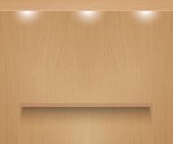 Realistic shelf on wooden wall royalty free illustration