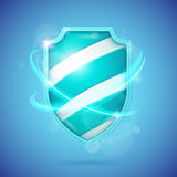 Realistic shield, a symbol of protection and reliability. Stock Image