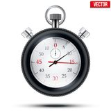 Realistic shine analog stop watch frimed rubber stock illustration