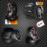 Realistic shining disk car wheel tyre set isolated. Auto garage wheels disk montage and installation winter tires replacement serv. Realistic shining disk car vector illustration