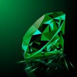 Realistic shining green emerald jewel Stock Image