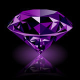 Realistic shining purple amethyst jewel. With reflection and purple glow isolated on black background. Colorful gemstone that can be used as part of logo, icon stock illustration