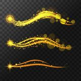 Realistic shining stars, glitter and glow of the stars. Flying trail of sparkling stars Magic glow. Vector illustration Royalty Free Stock Images