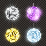 Realistic shiny disco ball set, bright round. Mirror or glitter ball, nightclub and discotheque decoration. Vector illustration stock illustration