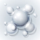 Realistic shiny transparent water drop bubbles on Stock Photo