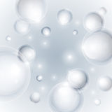 Realistic shiny transparent water drop bubbles on Royalty Free Stock Photo