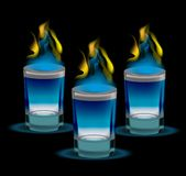 Realistic shot of cocktail with fire. 3d glass, for the restaurans, bars collection. Isolated on a black background. Vector illustration Stock Photos