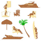 Realistic silhouette of beach recreation Royalty Free Stock Photography