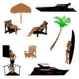 Realistic silhouette of beach recreation Royalty Free Stock Image