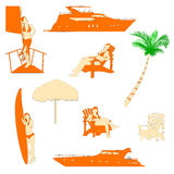 realistic silhouette of beach recreation Stock Photo