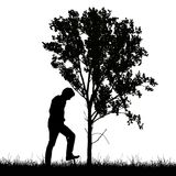 Realistic silhouette of working farmer with spade and tree growi Stock Photo
