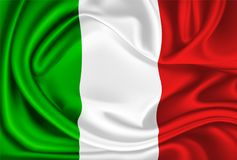 Vector Mexico Italy flag realistic silk drape. Realistic silk mexican or italian flag. Waving mexico italy state symbol. National country 3d drape flowing royalty free illustration