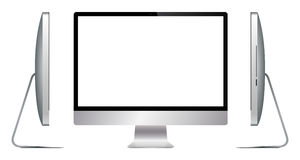 Realistic Silver Computer Screen All Sides Royalty Free Stock Images