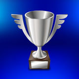Realistic silver cup for first place On a blue background. Vector illustration Royalty Free Stock Photography