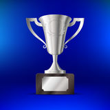 Realistic silver cup for first place On a blue background. Vector illustration Stock Image