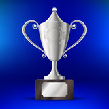 Realistic silver cup for first place On a blue background. Vector illustration Royalty Free Stock Images