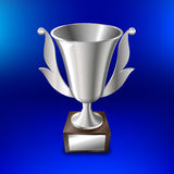 Realistic silver cup for first place On a blue background. Vector illustration Royalty Free Stock Photo