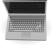 Realistic silver laptop with black screen Royalty Free Stock Photography